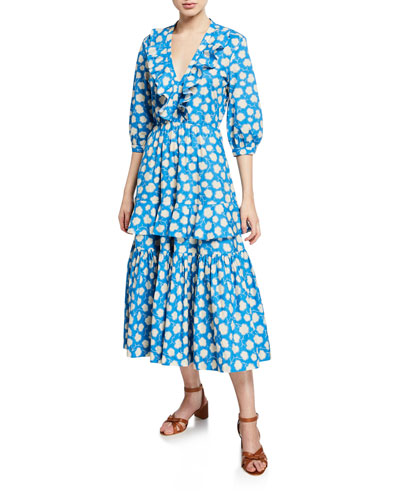 Sierra Tiered Floral Ruffle Midi Dress