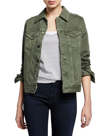 Mya Button-Front Denim Jacket