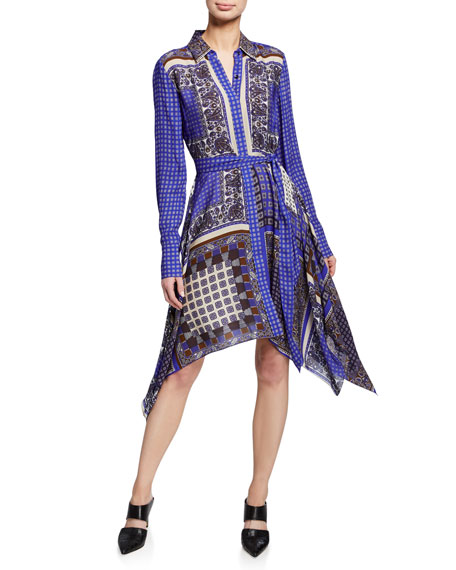 Elie Tahari Dresses ROXANNE MIXED-PRINT BUTTON-FRONT LONG-SLEEVE DRESS