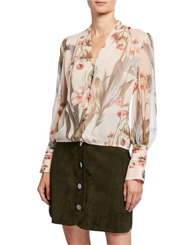 Laya Floral Button-Front Blouson-Sleeve Silk Blouse