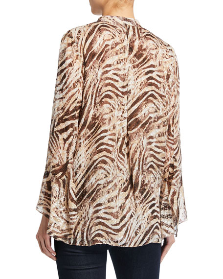 Chava Tiger Stripe Button-Down Long-Sleeve Blouse