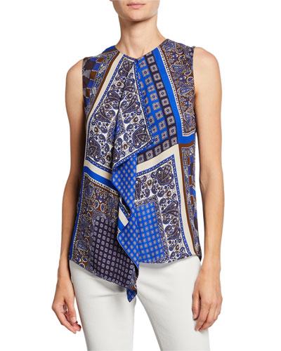 b69246127ee7 Pernilla Printed Sleeveless Drape-Front Blouse Quick Look. Elie Tahari