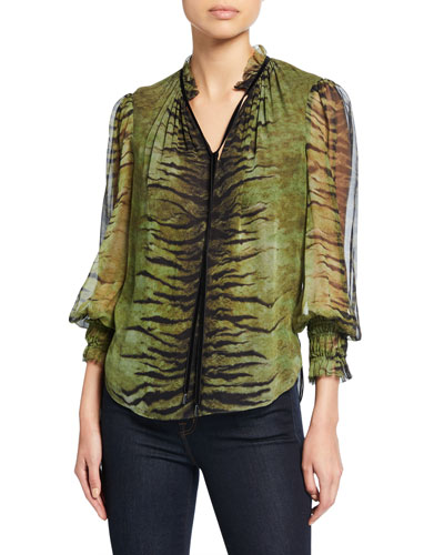 Zeina Tiger-Stripes V-Neck Blouson-Sleeve Silk Blouse
