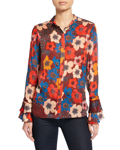 Safiya Floral Long-Sleeve Button-Down Blouse