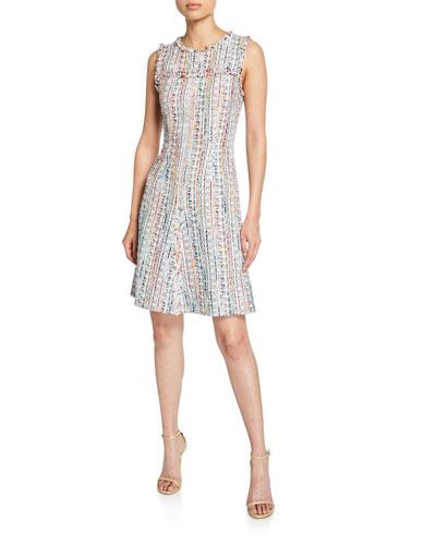 Dean Crewneck Sleeveless Tweed Dress