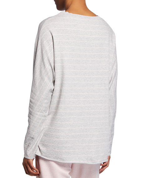 Striped Oversize Continuous-Sleeve Sweatshirt