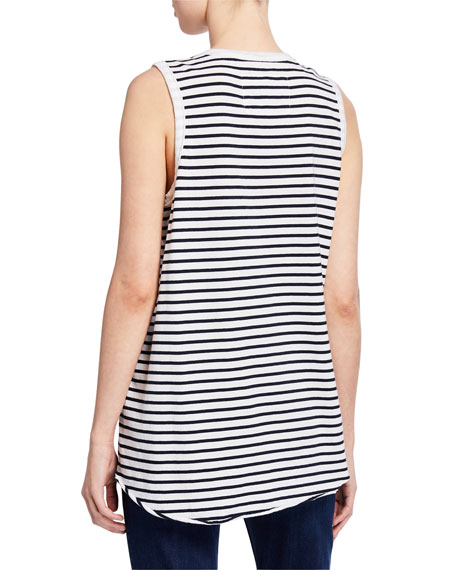 Striped Scoop-Neck Relaxed Asymmetric Tank