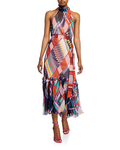 Selena Geometric-Silk Halter-Neck Dress