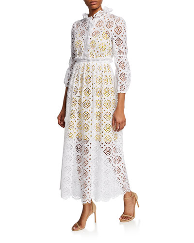 Leandra Eyelet Button-Front Maxi Dress