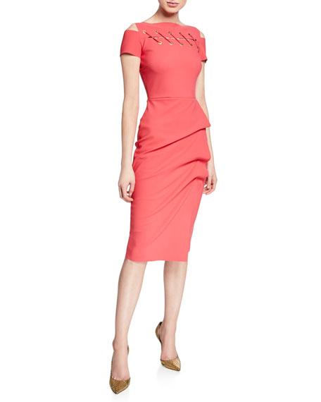 Chiara Boni La Petite Robe Short-Sleeve Cutout Dress