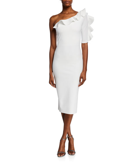 One-Shoulder Asymmetric Cocktail Dress with Ruffle Trim