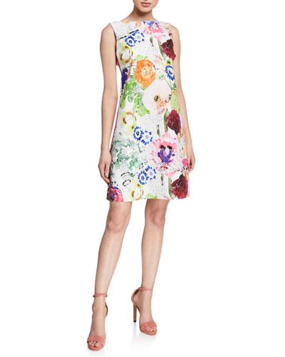 5b7b63802966f Abstract Floral-Print High-Neck Sleeveless A-Line Dress Quick Look. Chiara  Boni La Petite Robe