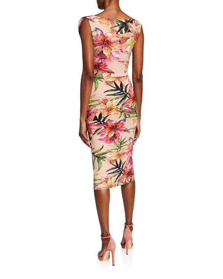 Floral-Print V-Neck Sleeveless Asymmetric Ruffle Dress