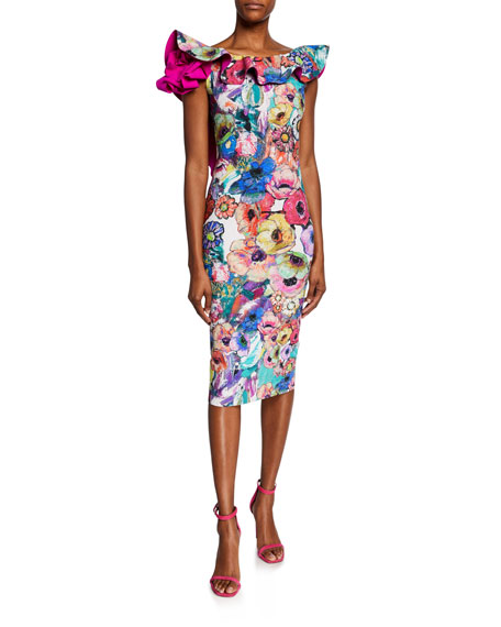 Chiara Boni La Petite Robe Dresses FLORAL-PRINT RUFFLE-TRIM U-BACK COCKTAIL DRESS