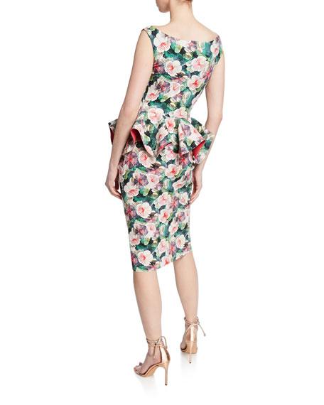 55a755a3493d3 Chiara Boni La Petite Robe Floral-Print Bateau-Neck Sleeveless Peplum Dress