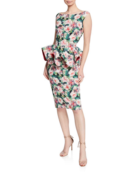 Chiara Boni La Petite Robe Dresses FLORAL-PRINT BATEAU-NECK SLEEVELESS PEPLUM DRESS