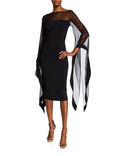High-Neck Sheer Wing-Sleeve Cocktail Dress