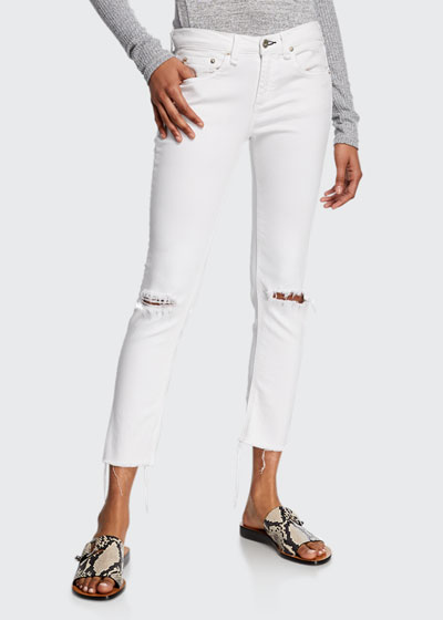 Dre Low-Rise Ankle Slim Boyfriend Knee-Rip Jeans