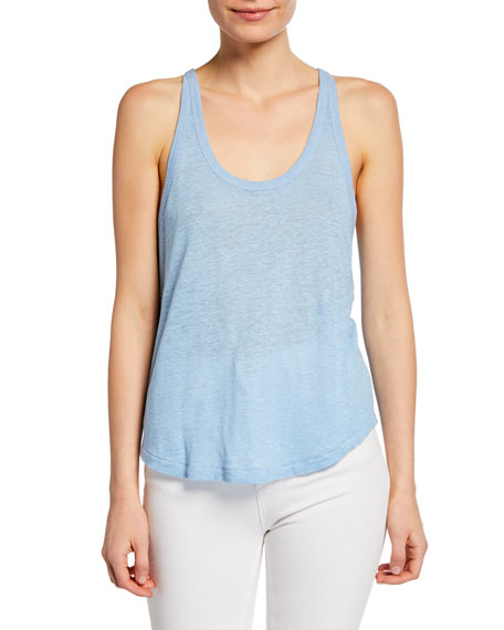 Rag & Bone Gage Scoop-Neck Racerback Linen Tank