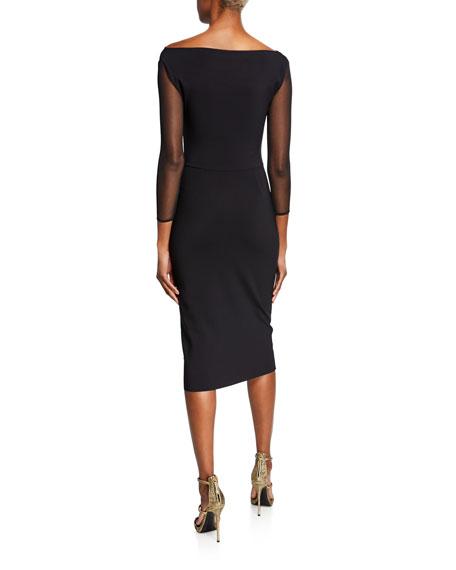 ad2ed547cdc Chiara Boni La Petite Robe Sweetheart Illusion 3 4-Sleeve Dress with Side-Shirred  Skirt