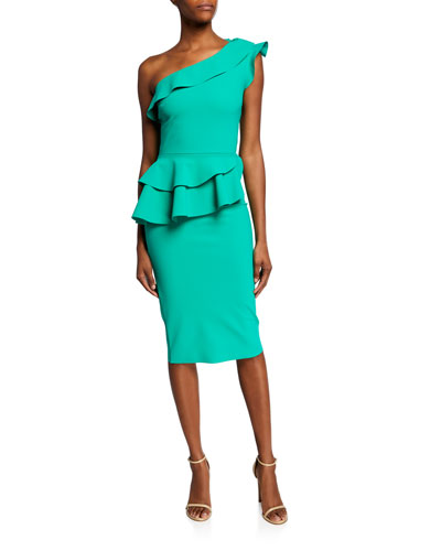 75233ec363cc Ruffled One-Shoulder Asymmetric Peplum Cocktail Dress Quick Look. Chiara  Boni La Petite Robe