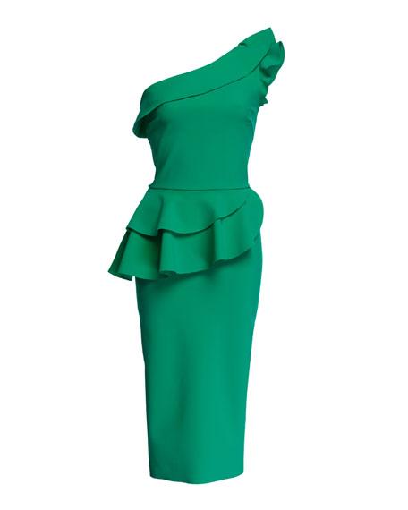 Ruffled One-Shoulder Asymmetric Peplum Cocktail Dress