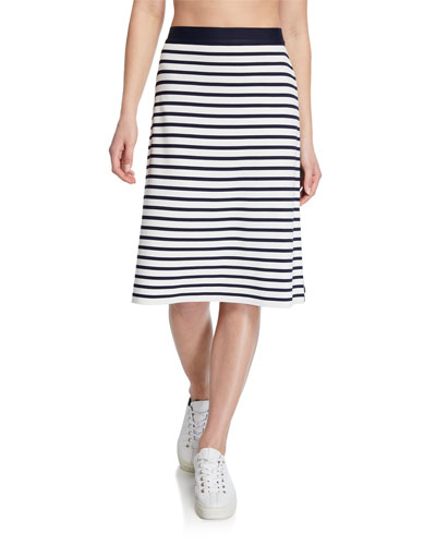 Breton Stripe Tech Knit Skirt