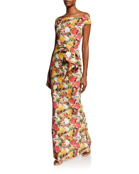 Chiara Boni La Petite Robe Printed Off-Shoulder Short-Sleeve