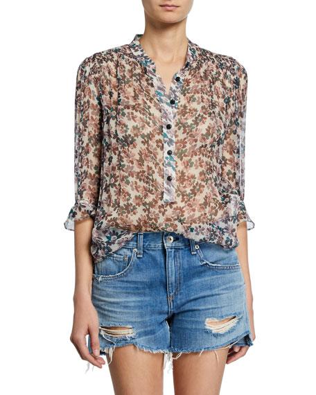 b32bd184272c4d Rag & Bone Susan Floral-Print Chiffon 3/4-Sleeve Blouse