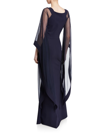V-Neck Cape-Illusion Sheer-Sleeve Gown