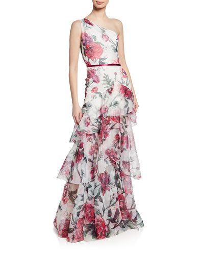 Floral Organza One-Shoulder Sleeveless Gown w/ Cascading Ruffle Trim