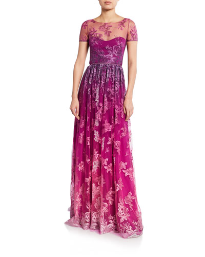 bd25bbc82b3c Promotion Ombre Metallic Embroidered Short-Sleeve Illusion Gown with  Open-Back