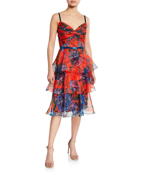 Marchesa Notte Dresses FLORAL-PRINT SLEEVELESS TIERED ORGANZA DRESS WITH DRAPED BODICE