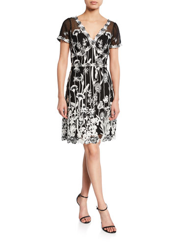 V Neck Cap Sleeve Embroidered Guipure Lace Dress Quick Look Marchesa Notte
