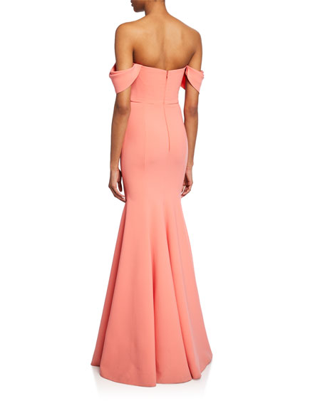 0890ae16 Marchesa Notte Off-the-Shoulder Crepe Gown w/ Draped-Bodice & Beaded ...