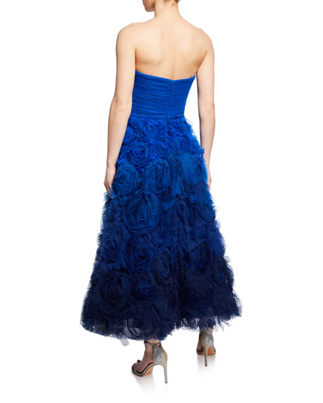 1b8ede23d5ddb Marchesa Notte Ombre Strapless Textured Tulle Gown with Draped Bodice