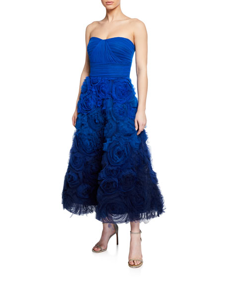 Marchesa Notte Tops OMBRE STRAPLESS TEXTURED TULLE GOWN WITH DRAPED BODICE