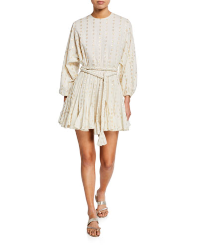 Ella Metallic-Print Short Dress