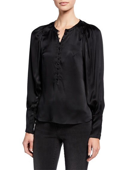 Rebecca Taylor Tops LONG-SLEEVE CHARMEUSE BUTTON-FRONT TOP