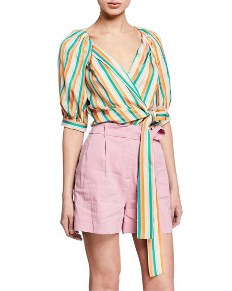 Pinko Tops ROSANNA STRIPED TIE-FRONT BLOUSE