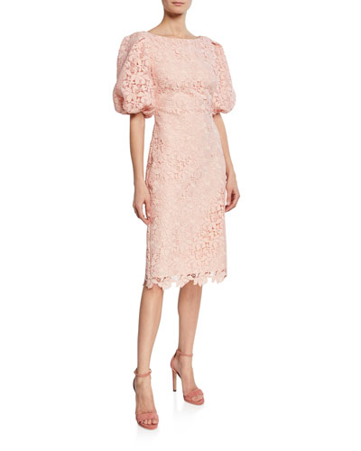 Scallop-Lace High-Neck Balloon-Sleeve Cocktail Dress