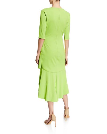 Surplice Elbow-Sleeve High-Low Flounce-Skirt Dress