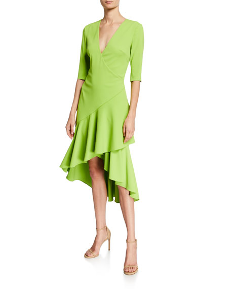 Badgley Mischka Dresses SURPLICE ELBOW-SLEEVE HIGH-LOW FLOUNCE-SKIRT DRESS