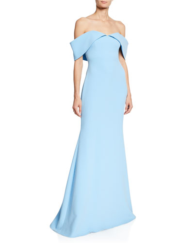 5165d50a371 Off-the-Shoulder Short-Sleeve Mermaid Gown Quick Look. Badgley Mischka  Collection