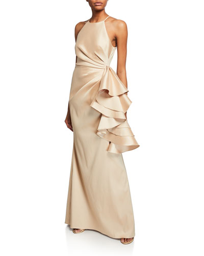 551d120a9c6 Mikado Shirred-Bodice Side-Ruffle Halter Gown Quick Look. Badgley Mischka  Collection