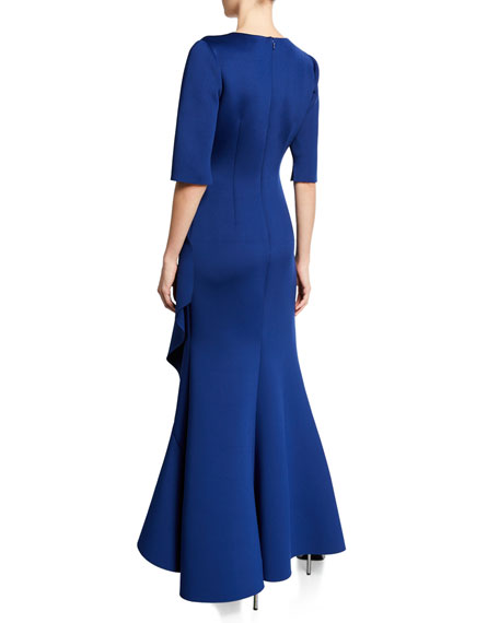 V-Neck Elbow-Sleeve High-Low Scuba Gown