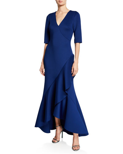 cdce0f0be7b V-Neck Elbow-Sleeve High-Low Scuba Gown