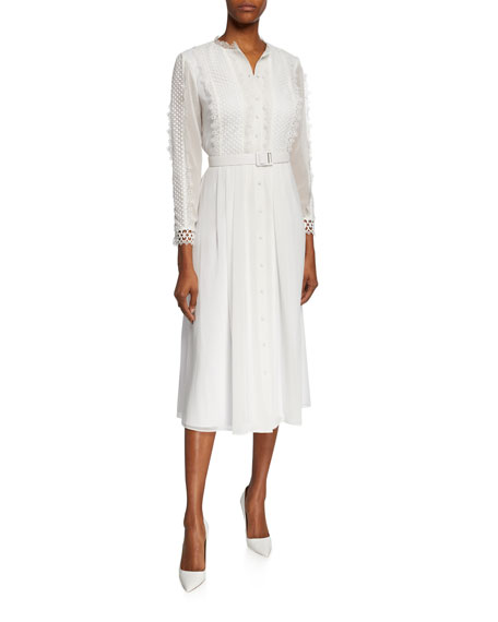 Image 1 of 1: Button-Front 3/4-Sleeve Belted Shirtdress w/ Lace