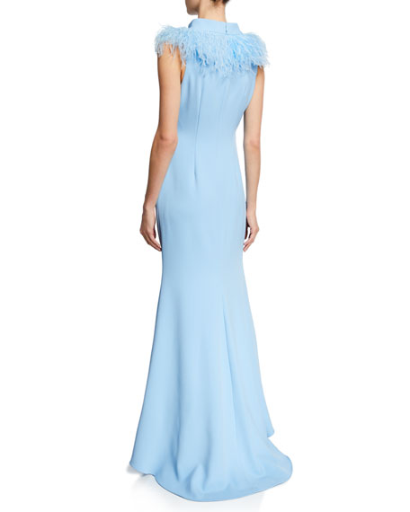 Mock-Neck Sleeveless Feather Gown