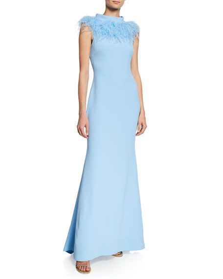 Badgley Mischka Collection Mock-Neck Sleeveless Feather Gown